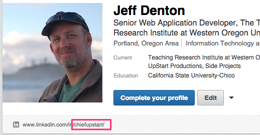 LinkedIn public profile name
